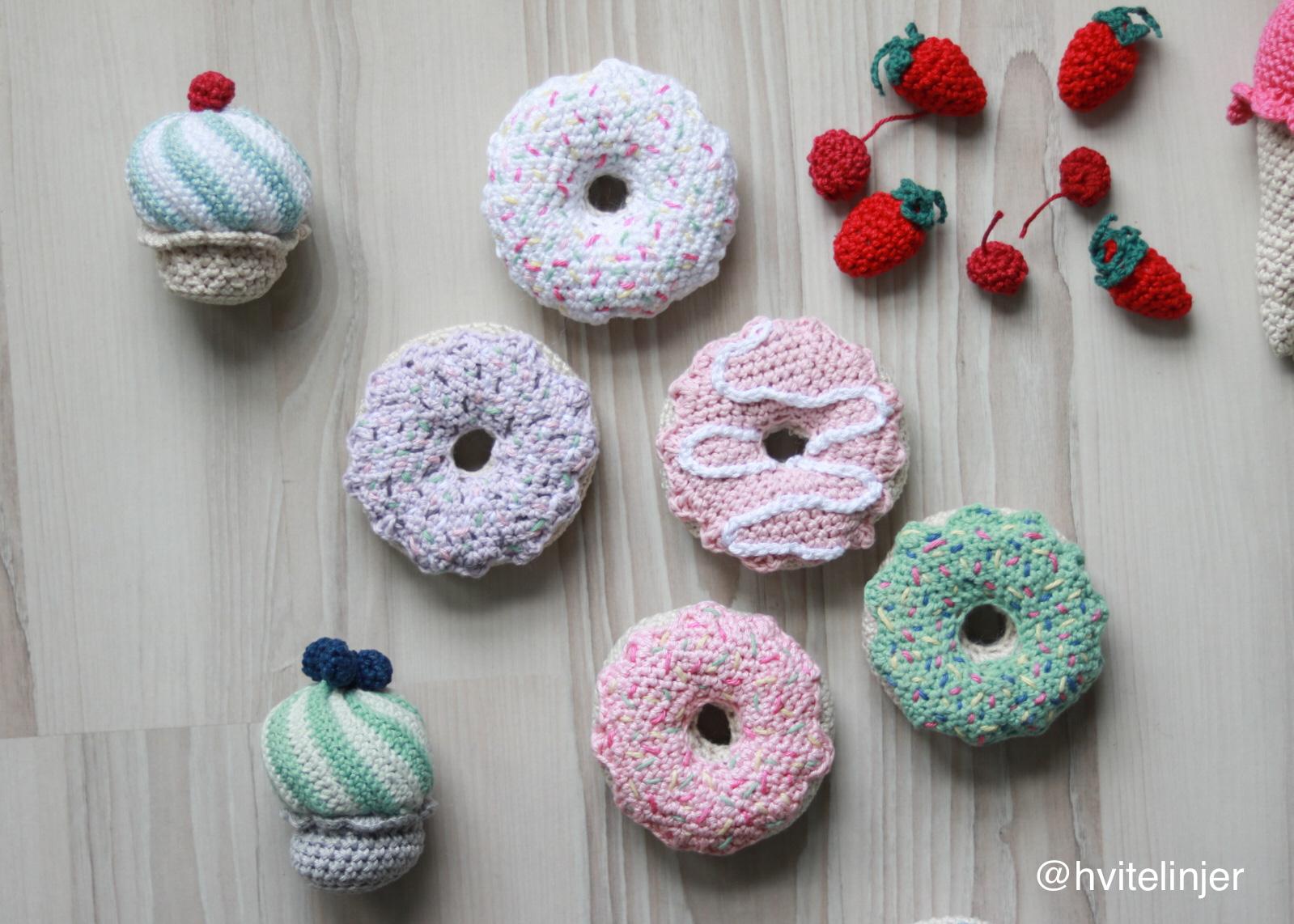 hekle donut - hvitelinjer