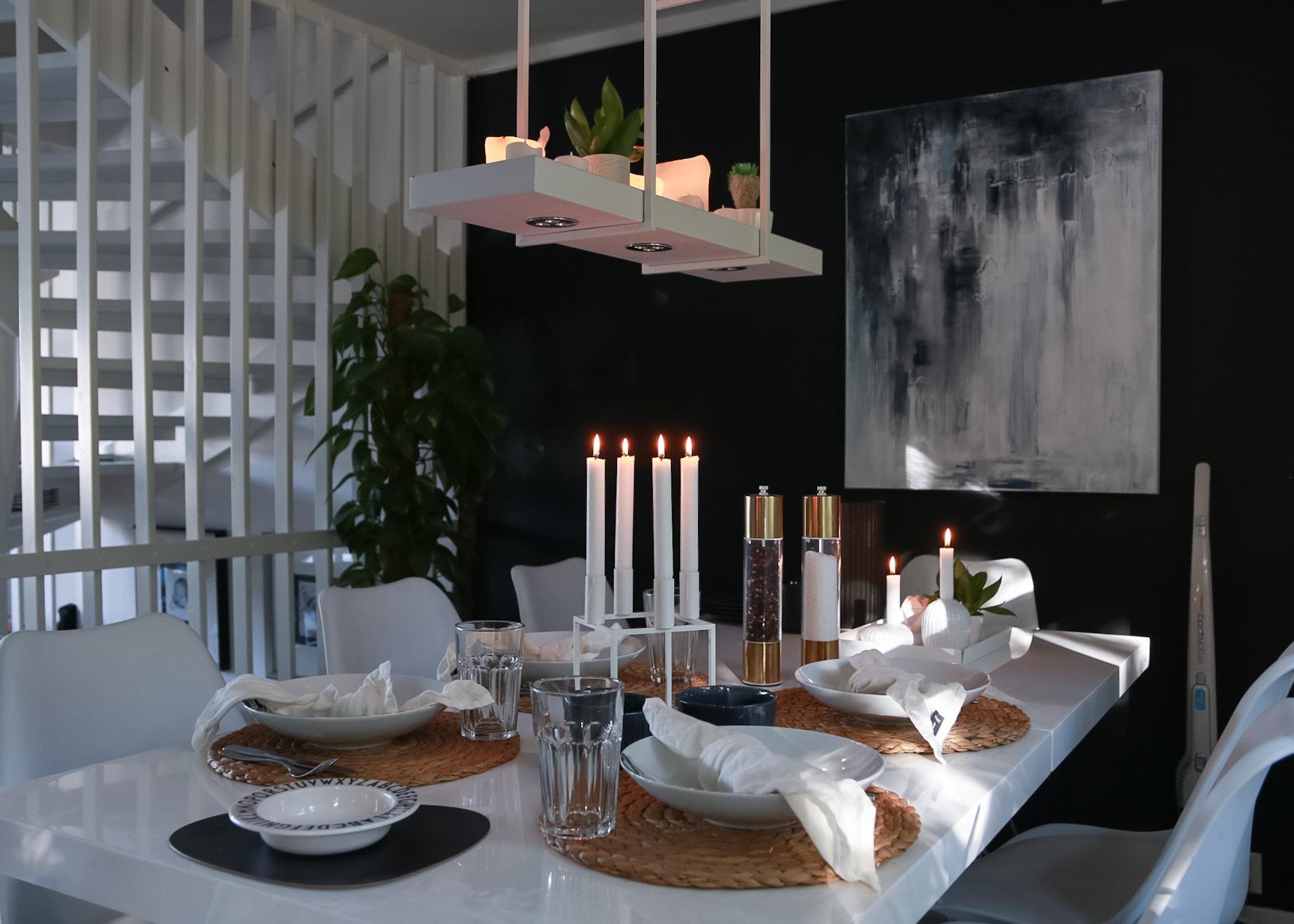høstferie borddekking - hvitelinjer