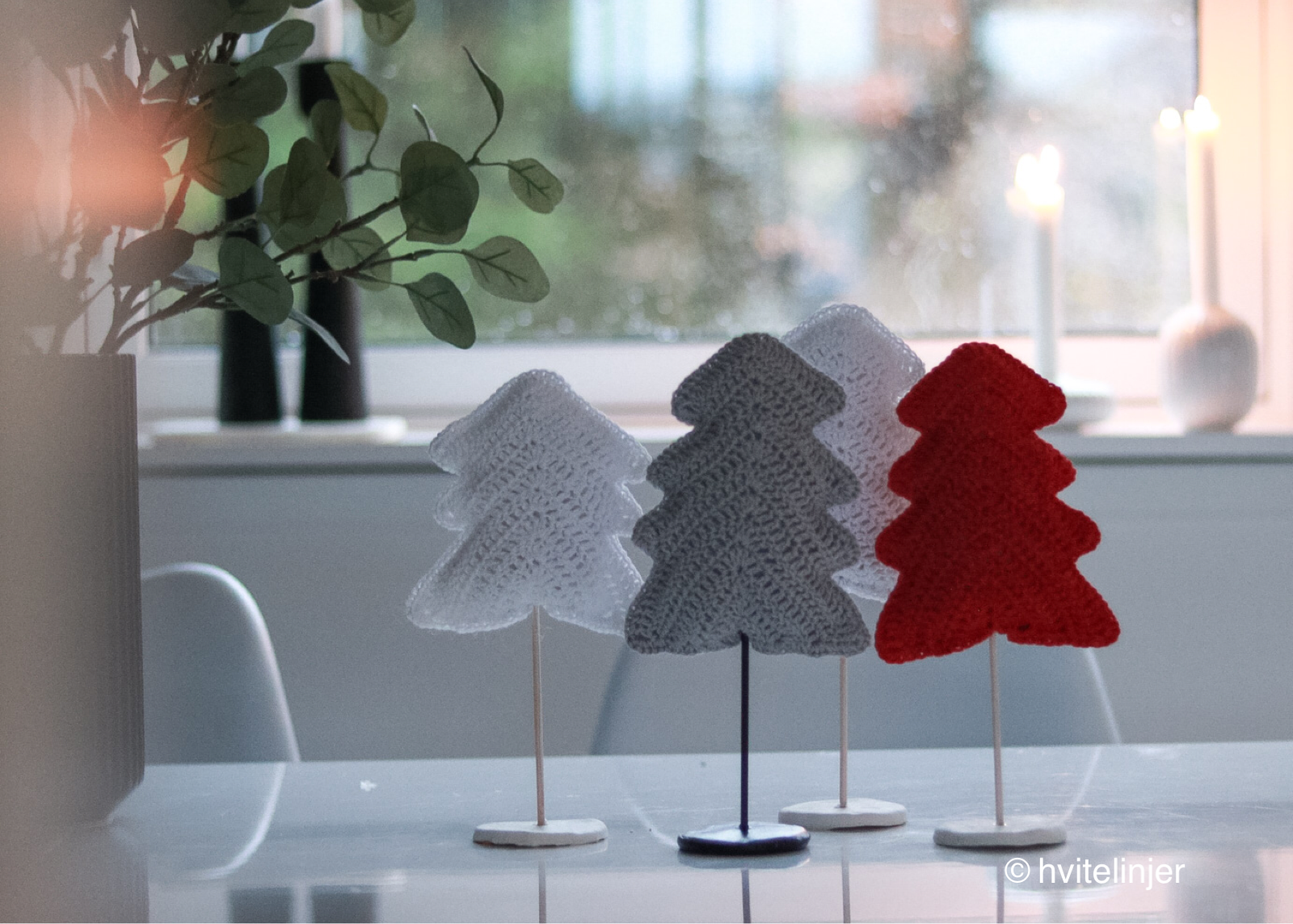 hekle juletre (oppskrift) - hvitelinjer